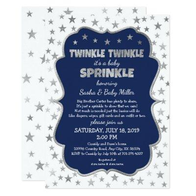 Boy Baby Sprinkle Invitations, navy silver stars Invitations