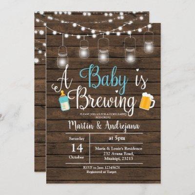 Boy BabyQ invitation Coed BBQ Baby brewing invite