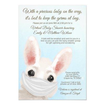 Boy Bunny Rabbit Mask Online Drive By Baby Shower Invitation