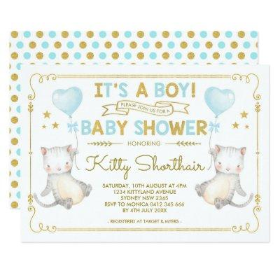 Boy Cat Baby Shower Kitten Cat Lover Blue Gold Invitation