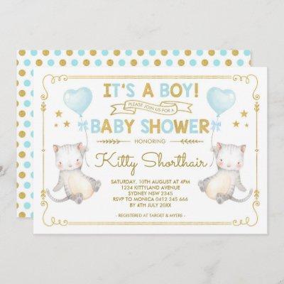 Boy Cat Baby Shower Kitten Cat Lover Blue Gold Invitation
