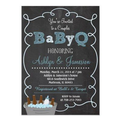 Boy Couples BabyQ BBQ Invitations