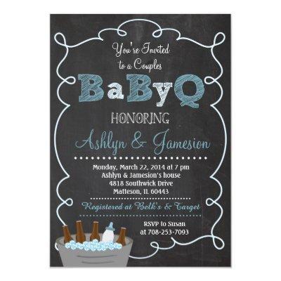 Boy Couples BabyQ BBQ Baby Shower Invitations