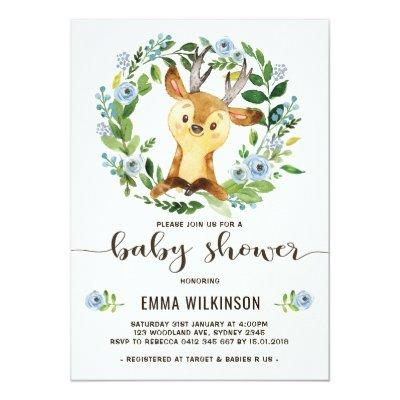 Boy Deer Baby Shower Invitation Little Buck Wreath