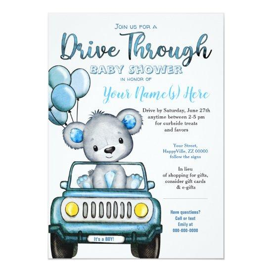 Boy Drive Through Baby Shower Bear Car Invitation