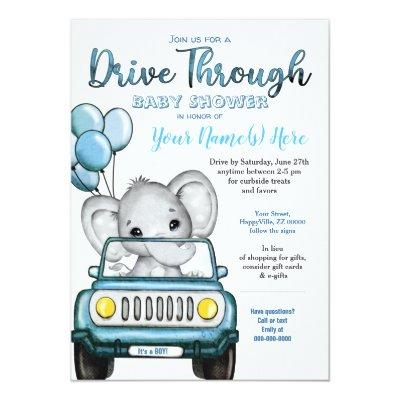 Boy Drive Through Baby Shower Elephant in Car Invitation