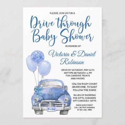 Boy Drive Through Covid Baby Shower Car Invitation