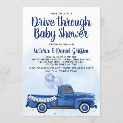 Boy Drive Through Covid Baby Shower Truck Invitation