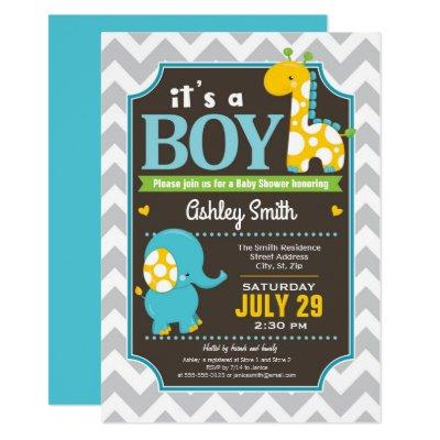 Boy Elephant and Giraffe Baby Shower Invitation