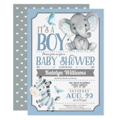 Boy Elephant and Zebra Baby Shower Invitations
