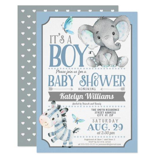 Boy Elephant and Zebra Baby Shower Invitation