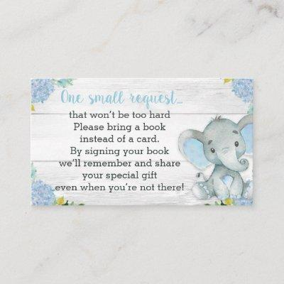 Boy Elephant Baby Shower Book Request Invitations