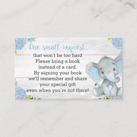 Boy Elephant Baby Shower Book Request Card