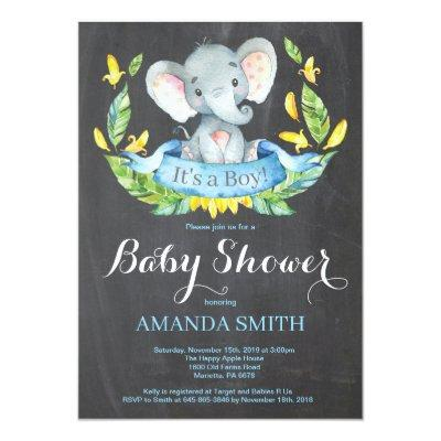 Boy Elephant Baby Shower Invitation Chalkboard