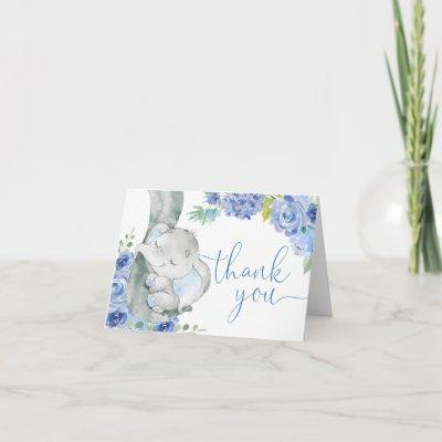 Boy elephant blue floral watercolor little peanut thank you card
