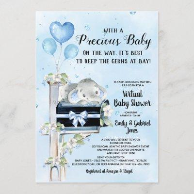 Boy Elephant Covid Baby Shower By Mail Invitation