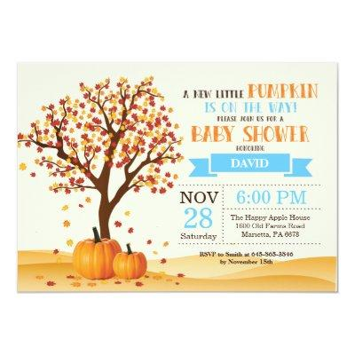 Boy Fall Baby Shower Invitations Card Trees Leaves