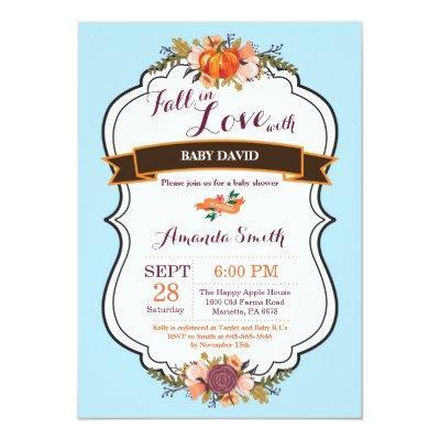 Boy Fall in Love Pumpkin Baby Shower Invitation