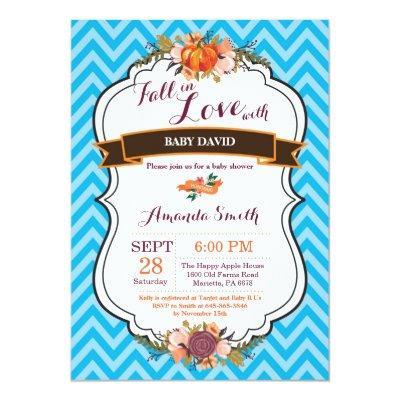 Boy Fall in Love Pumpkin Baby Shower Invitations