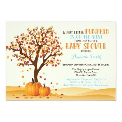 Boy Fall Pumpkin  Invitations