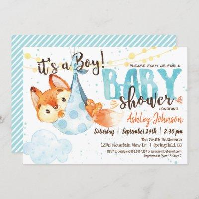 Boy Fox Baby Shower Invitation