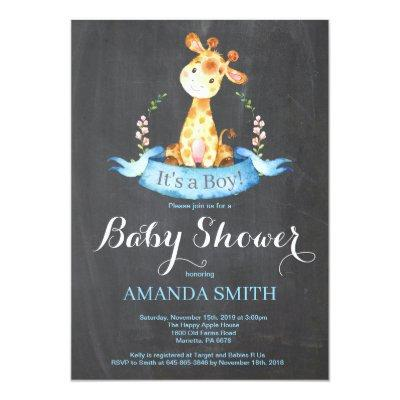 Boy Giraffe Baby Shower Invitation Chalkboard