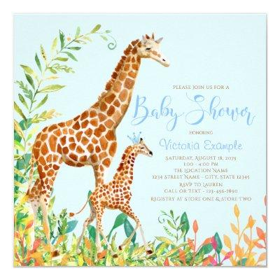 Boy Giraffe Baby Shower Invitations
