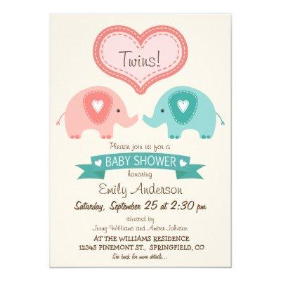 Boy & Girl Twin Pink & Teal Elephants Baby Shower Invitation