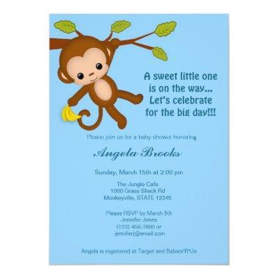 Boy Monkey Baby Shower Invitations BLUE MM2