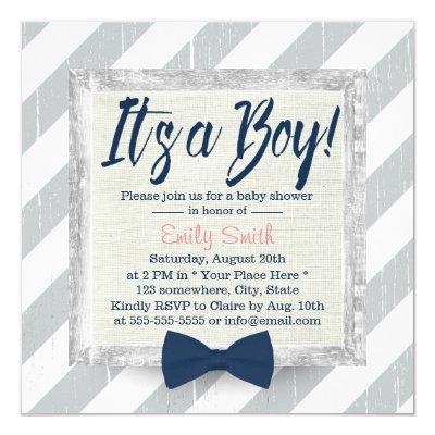 Boy Navy Blue Bow Tie Grey Stripes