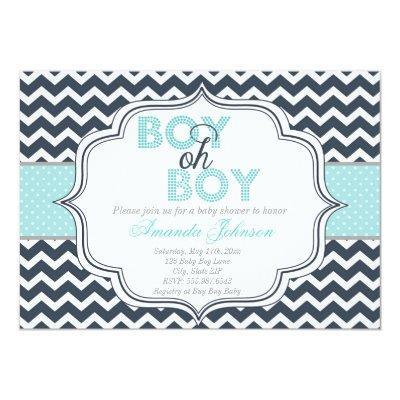 Boy Oh Boy Chic Chevron Baby Shower Invitations