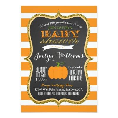 Boy or Girl Fall Pumpkin Baby Shower Invitations