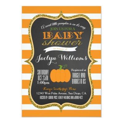 Boy or Girl Fall Pumpkin Baby Shower Invitations
