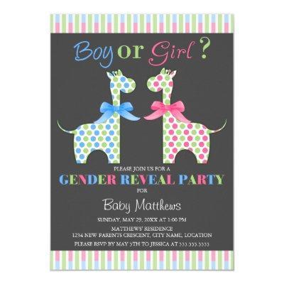 Boy or Girl Giraffe Gender Reveal Party Invitations