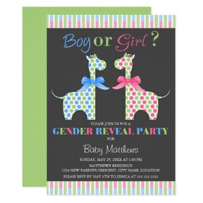 Boy or Girl Giraffe Gender Reveal Party Invitation