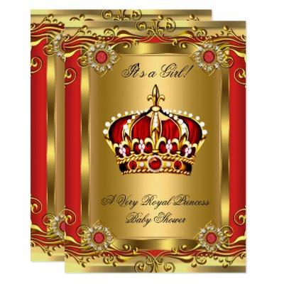 Boy or Girl Royal Baby Shower Regal Red Gold 2 Invitations