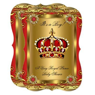 Boy or Girl Royal Baby Shower Regal Red Gold Invitations