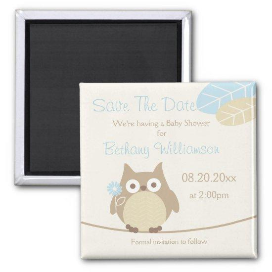 Boy Owl Baby Shower Save The Date Magnet Baby Shower Invitations