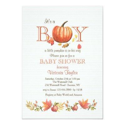 Boy Pumpkin Baby Shower Invitations
