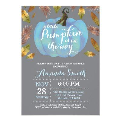 Boy Pumpkin Fall Baby Shower Blue and Gray Invitation