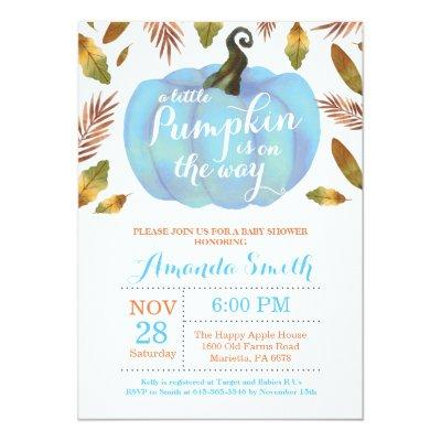 Boy Pumpkin Fall Baby Shower Invitation