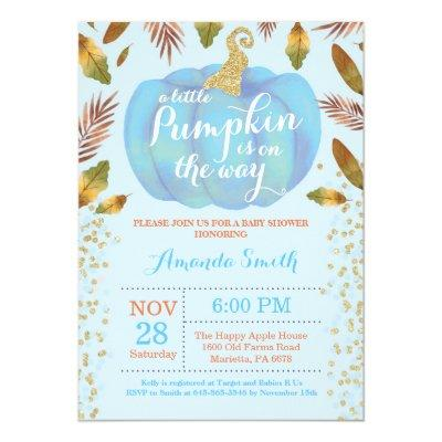 Boy Pumpkin Fall Baby Shower Invitation Gold