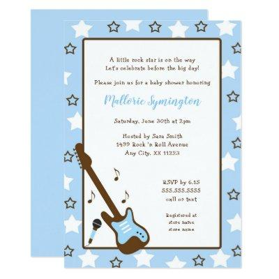 Boy Rock Star Baby Shower Invitations