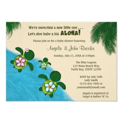 BOY Sea TURTLE Baby Shower Invite BLUE (Honu) 281