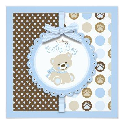 Boy Teddy Bear Baby Shower Invitations Square