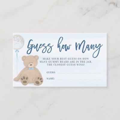 Boy Teddy Bear Blue Balloon Guess How Many Enclosure Card
