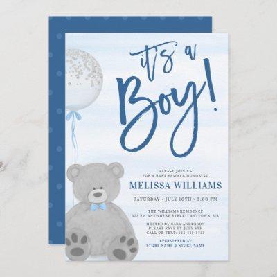 Boy Teddy Bear Blue Gray Balloon Baby Shower Invitation