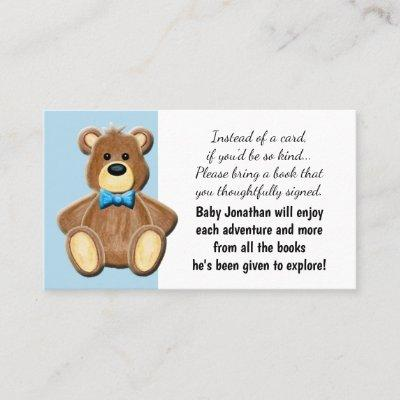 Boy Teddy Bear Tea Party Baby Shower Book Request Business Card