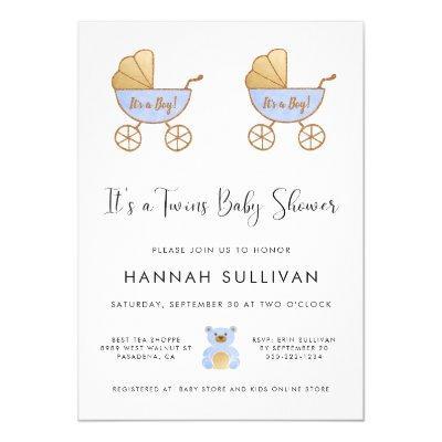 Boy Twins Retro Carriage Watercolor Shower Invitation