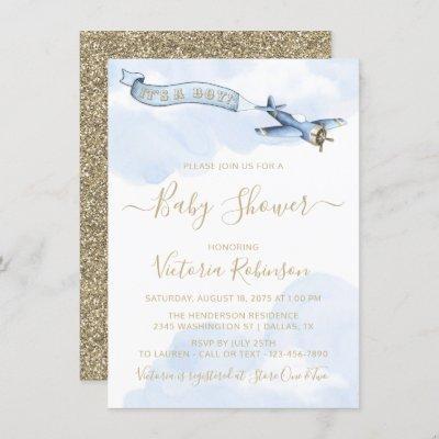 Boy Vintage Airplane Baby Shower Invitation